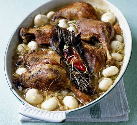 Tender duck legs with baby turnips
