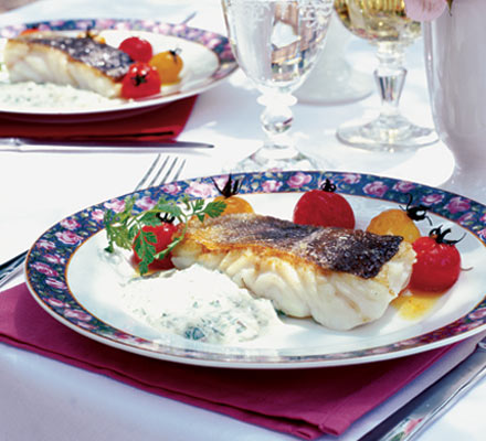 Roasted cod with easy watercress sauce & roasted cherry tomatoes