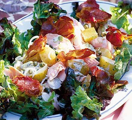 Salmon & crisp prosciutto salad