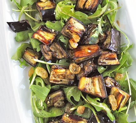 Marinated aubergine & rocket salad