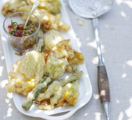 Stuffed courgette flowers with olive dressing