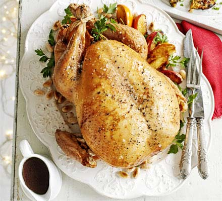 Scandinavian roast turkey with prune & juniper stuffing & caramelised apples