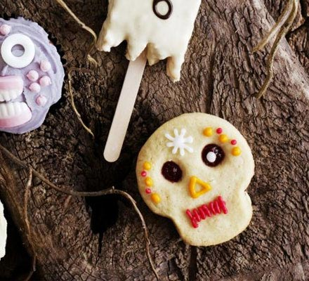 Scary skull biscuits
