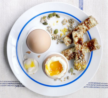 Dippy eggs with Marmite soldiers