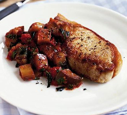 Pork chops with aubergine