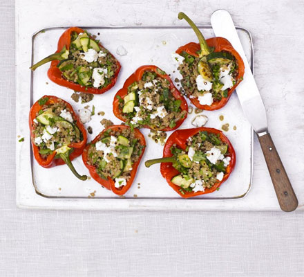 Courgette & quinoa-stuffed peppers