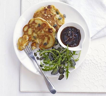 Squash, goat's cheese & rosemary pancakes
