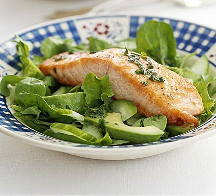 Salmon, avocado & cucumber salad
