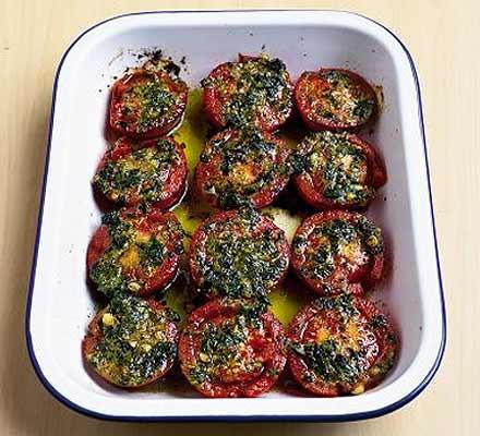 Roast tomatoes with pesto