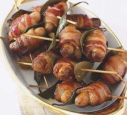 Apricot, bacon & sausage skewers