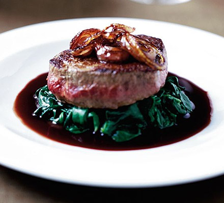Steak in red wine sauce