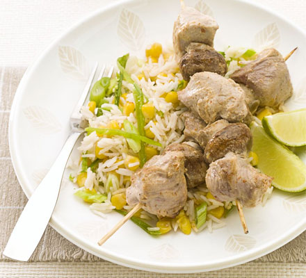 Pork & mushroom kebabs with quick fried rice