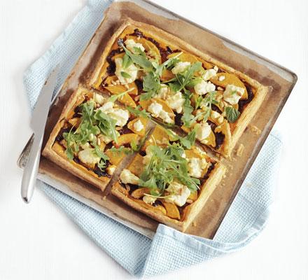 Squash, feta & pine nut tart