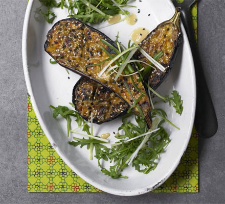 Grilled miso aubergines