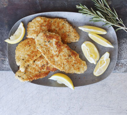 Lemon, Parmesan & pine nut crumbed pork escalopes