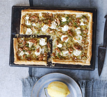 Leek, goat's cheese, walnut & lemon tart