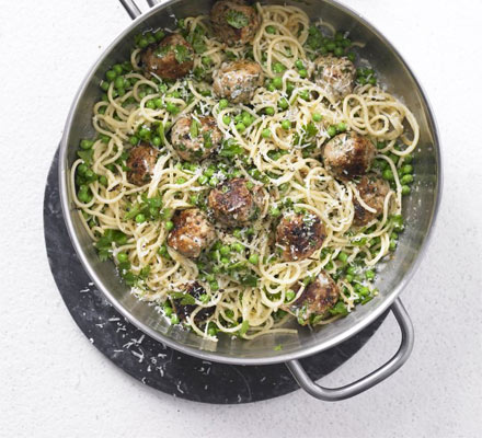 Springtime spaghetti & meatballs