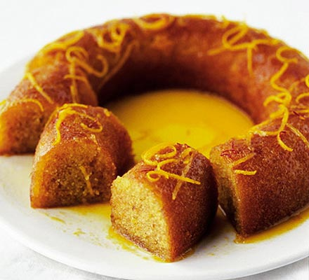 Orange & saffron syrup cake