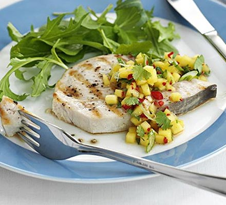 Seared swordfish with mango salsa