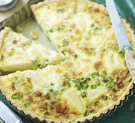 New potato, spring onion & Montgomery cheddar quiche