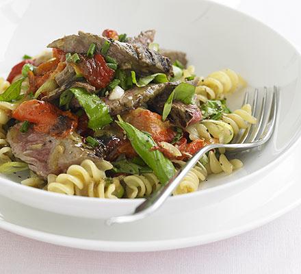 Hot BBQ beef, horseradish & pasta salad