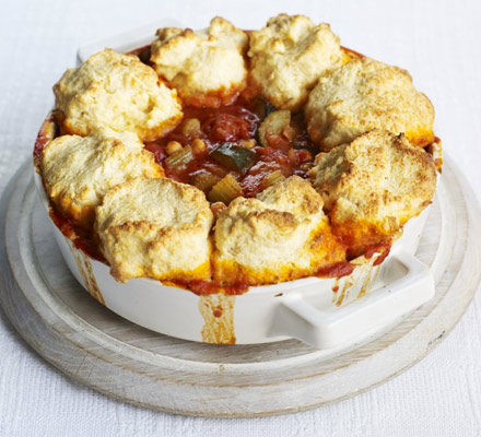 Tomato & harissa stew with cheddar dumplings