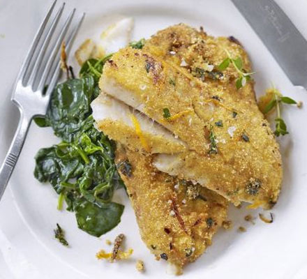 Pan-fried white fish with polenta & orange crust