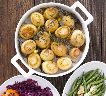 Herby fondant potatoes