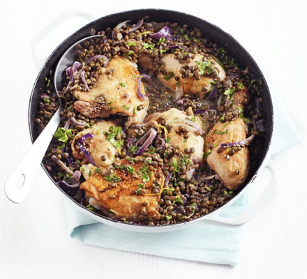 Chicken with mustard lentils
