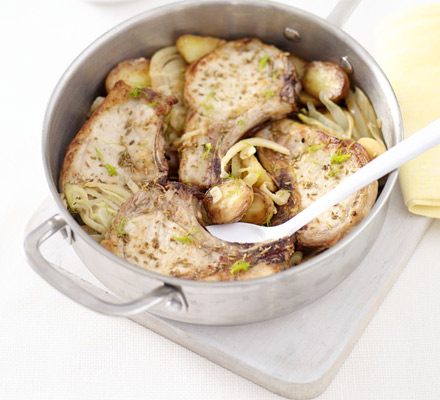 Baked fennel pork with lemony potatoes & onions