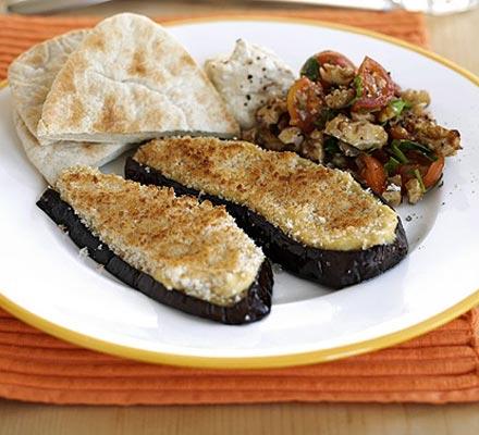 Aubergine & houmous grills
