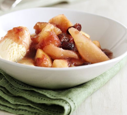 Apple, pear & cherry compote