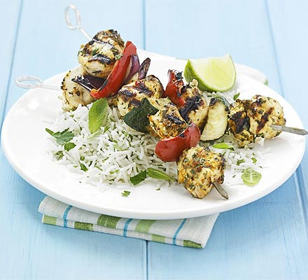 Red curry chicken kebabs