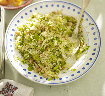 Couscous with courgette, fried onions & herbs