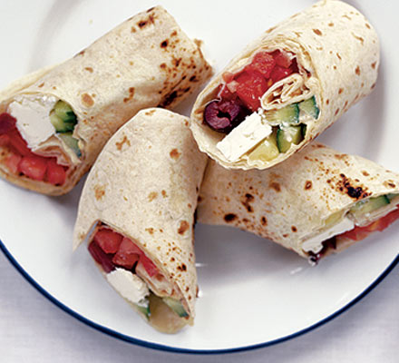 Greek salad wraps