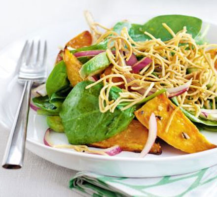 Spiced sweet potato salad with crisp noodles