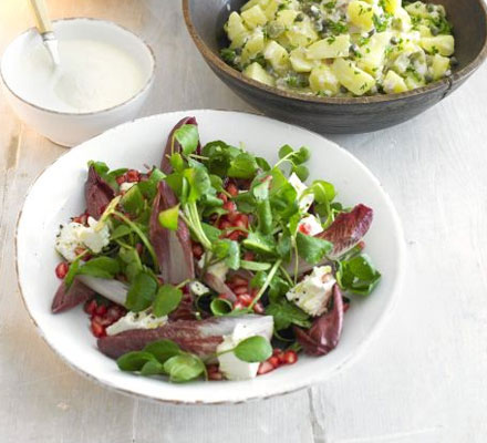 Chicory, pomegranate & feta salad