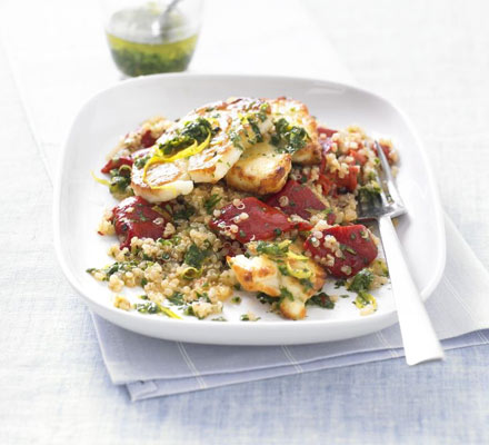 Warm quinoa salad with grilled halloumi