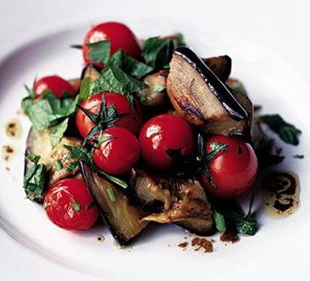 Herby aubergine & tomato salad