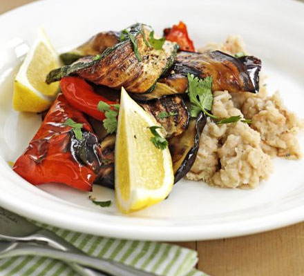 Grilled Mediterranean veg with bean mash