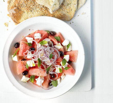 Watermelon & feta salad with crispbread