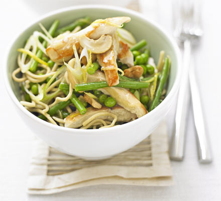 Lemon chicken with spring veg noodles