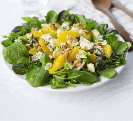 Orange, walnut & Stilton salad