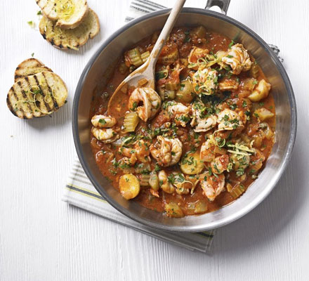 Prawn & tomato stew with gremolata topping