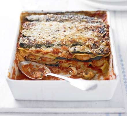 Griddled courgette & seafood lasagne