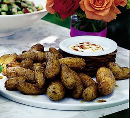Roasted new potatoes with chilli crème fraîche