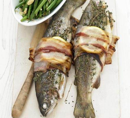 Pancetta-wrapped trout