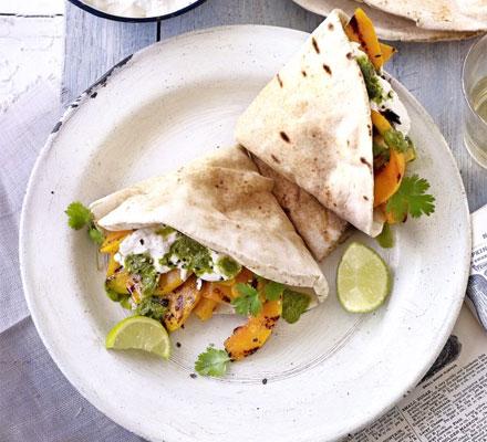 Squash & ricotta wraps with coriander salsa