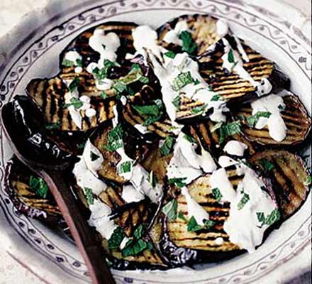 Griddled aubergines with yogurt & mint