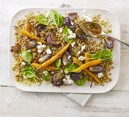 Farro salad with roasted carrots & feta